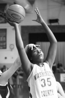 Sophomore Kenya Turner got hacked on a shot against Bethlehem last week at Washington County High School.