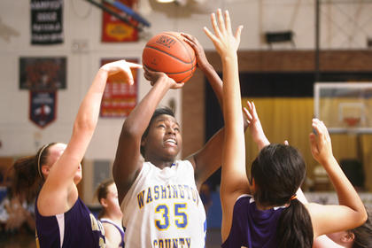Sophomore Kenya Turner fought off Campbellsville defenders on Tuesday, Jan. 25, at Washington County.