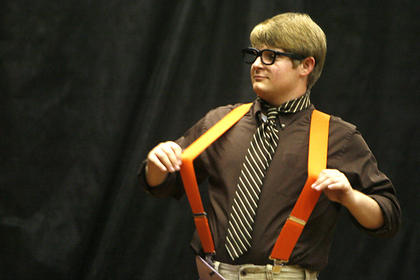 Josh Jackson flashed his suspenders during the poise competition.