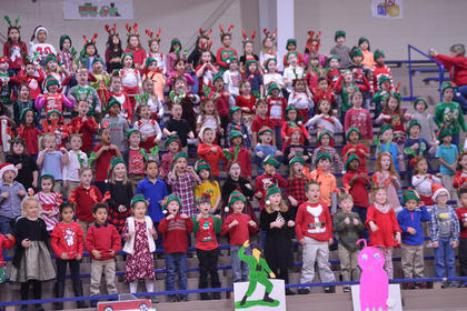 Students from Washington County Elementary School sing the opening number of the school's Christmas Program.