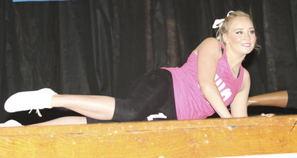 Mirelle Taylor performs in the physical fitness portion of the competition.